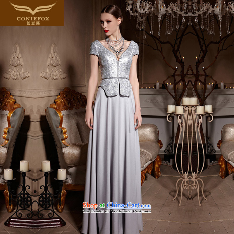 Creative Fox evening dress stylish shawl jacket banquet evening dresses聽V-Neck silver dress long gown on-chip Sau San toasting champagne evening service 30630 color picture聽L