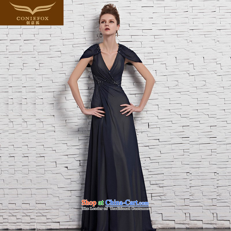 Creative Fox evening dresses and sexy package shoulder deep V banquet evening dresses long skirt evening dress under the auspices of the annual meeting to Sau San long bows dress skirt 81533?M Color Picture