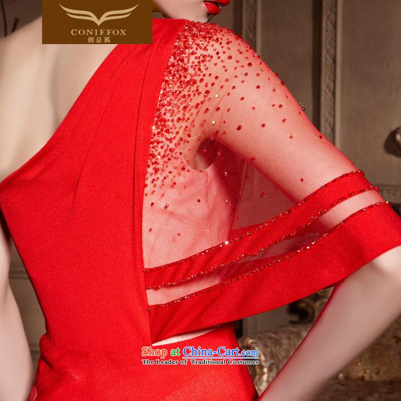 Creative Fox evening dresses聽2015 new bride red single shoulder wedding dresses and long evening dresses bows wedding dress skirt聽30638聽red聽, L, creative Fox (coniefox) , , , shopping on the Internet