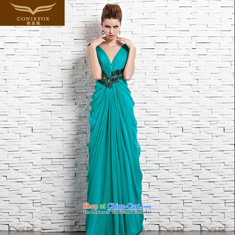 Creative Fox evening dress shoulders back blue dress skirts and sexy deep V banquet hosted the annual dinner dress performances dress uniform 81566 marriage bows picture color?S