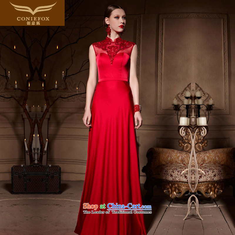 Creative Fox evening dresses large red bride dress long skirt bows dress marriage by 2015 Long bridesmaid wedding dresses welcome service sister 30650 picture color L