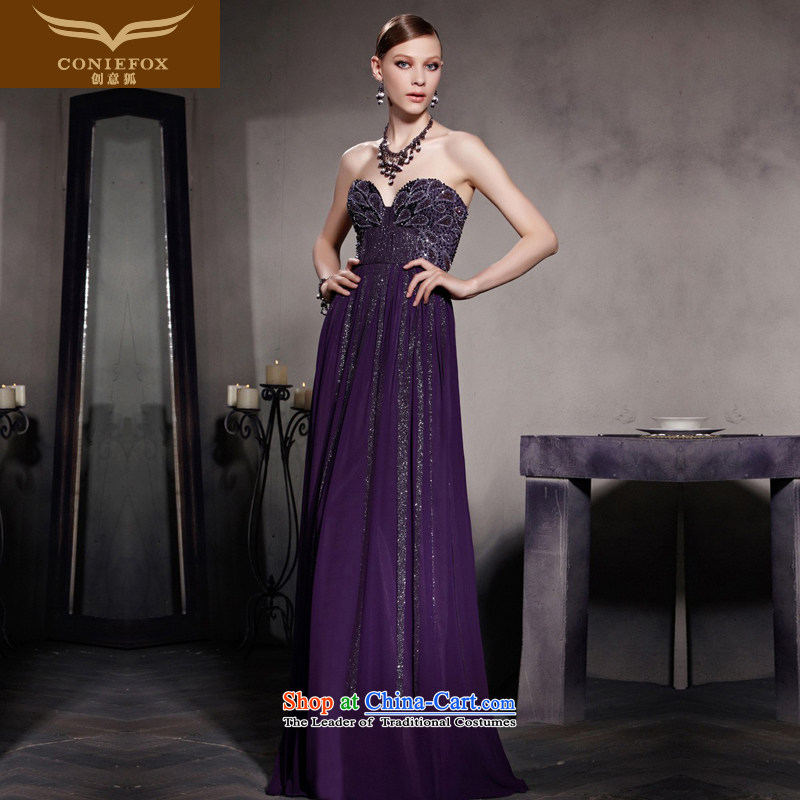 Creative Fox evening dresses?2015 new purple long dresses and sexy wiping the evening drink service chest red carpet dress video thin Foutune of long skirt 81559 color picture?M