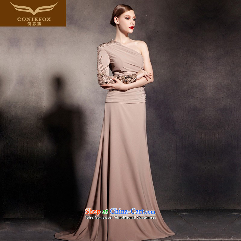 Creative Fox evening dress stylish shoulder long-sleeved banquet evening dress elegant long tail dress evening dress under the auspices of the Annual Services聽81693聽color photo of bows聽L