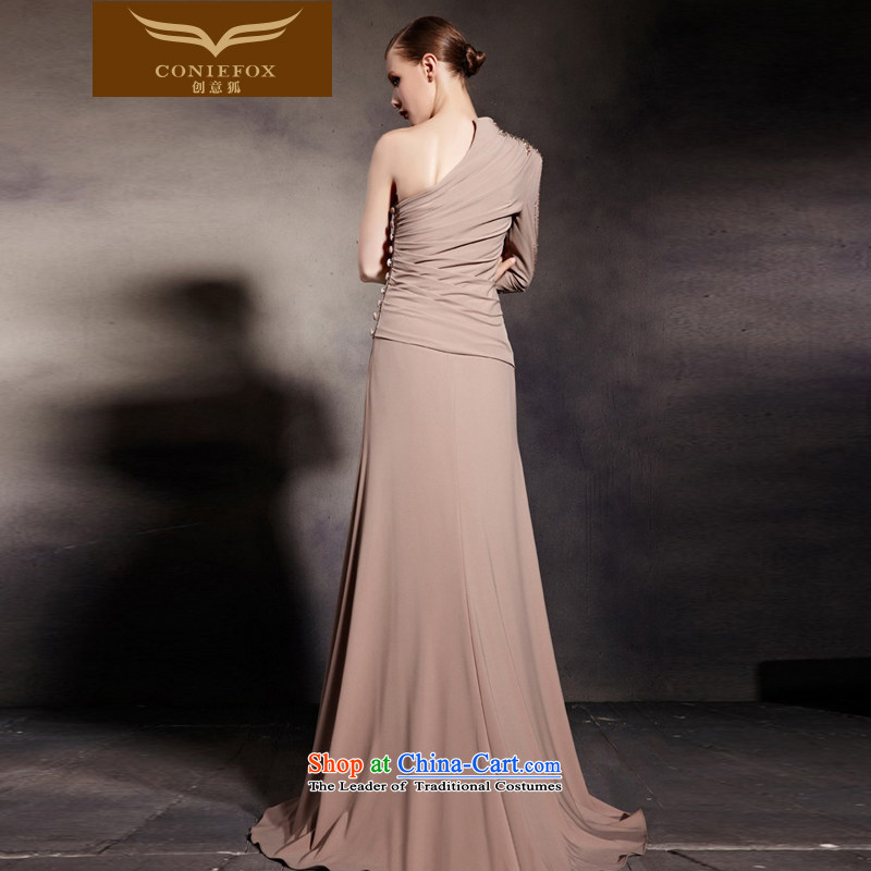 Creative Fox evening dress stylish shoulder long-sleeved banquet evening dress elegant long tail dress evening dress under the auspices of the Annual Services聽81693聽color photo of bows聽, L, creative Fox (coniefox) , , , shopping on the Internet