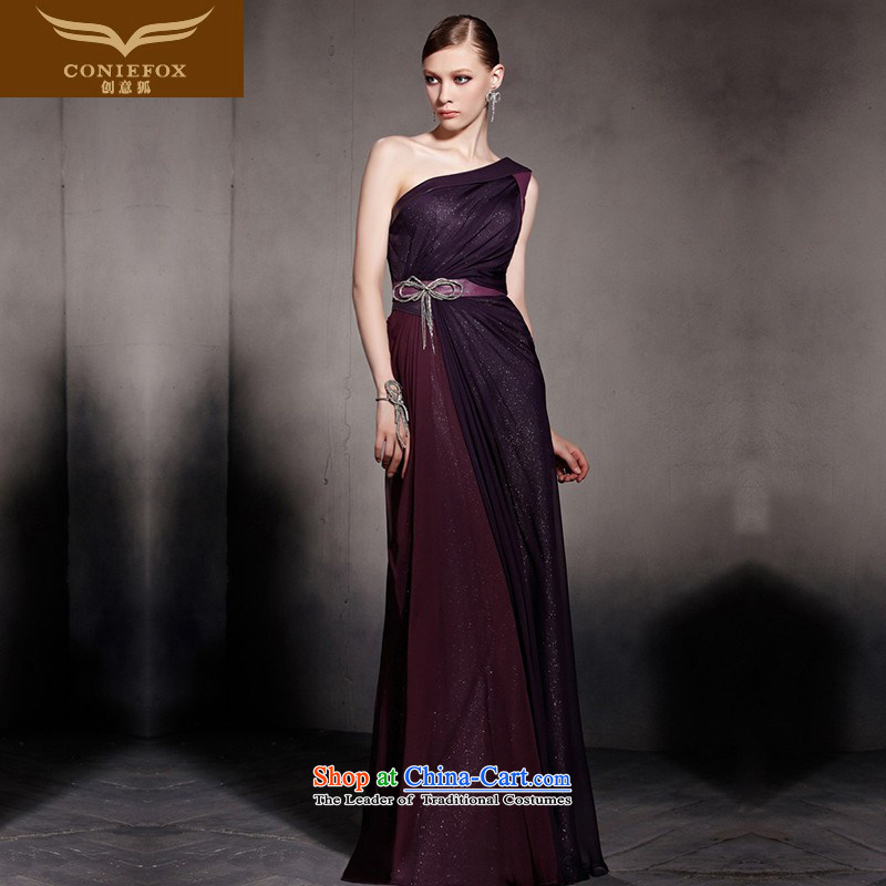 Creative Fox evening dresses purple elegant banquet video thin evening dress single shoulder length) under the auspices of the annual meeting to dress suit will long skirt 81813 picture color?L