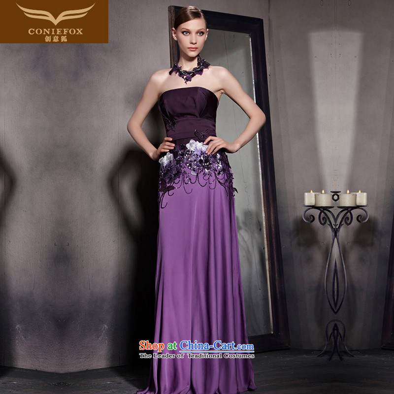 Creative Fox evening dresses�2015 new purple blossoms evening dresses and sexy anointed chest dress classy bows evening dress presided over 81831 picture color�M