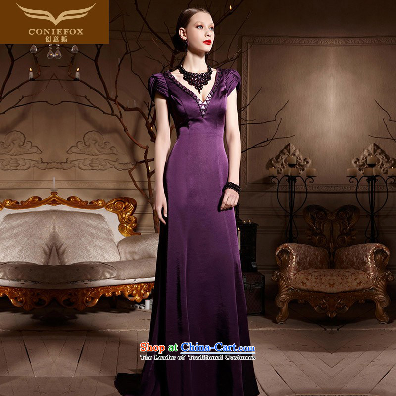 Creative Fox evening dresses purple package shoulder wedding dress evening drink service bridal dresses skirt long tail, deep V evening dresses red carpet dress 30652 purple聽L