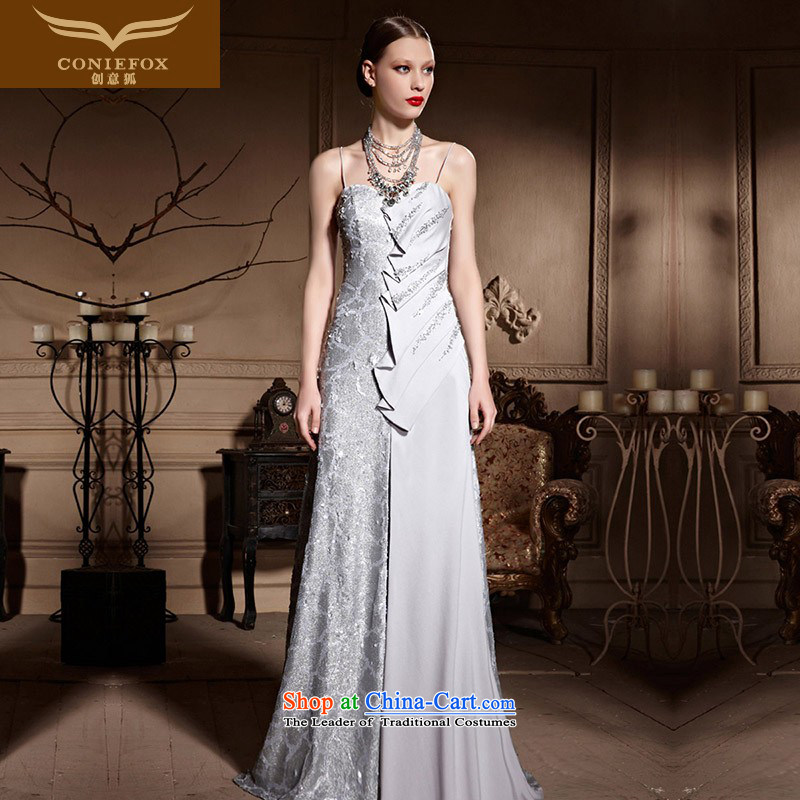 Creative Long Chest anointed fox wedding dress stylish light slice banquet evening dresses bridal dresses hospitality services tail toasting champagne evening service 81980?S Silver Gray