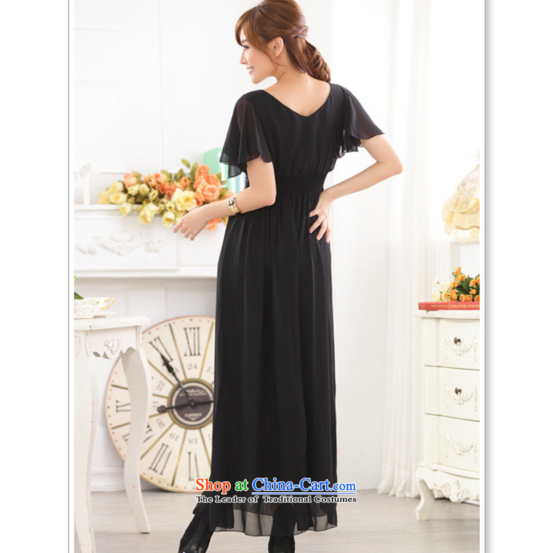 158 and Ultra High Chiffon Fei Fei Sleeve V-Neck Top Loin manually staple on Pearl River Delta sweet long thick mm bridesmaid sister skirt evening dress code are black� F