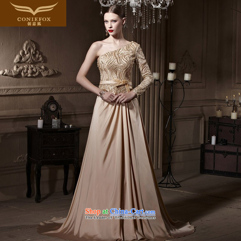 Creative Fox evening dresses Gold Diamond Wedding banquet dinner dress shoulder dress Welcome Service Bridal long bows to serve under the auspices of dress photo color 1990�S