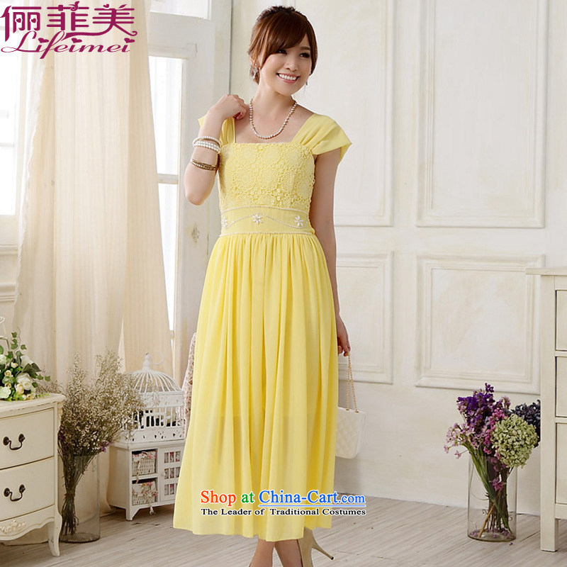 158 and the 2015 Korea Top Loin of sweet shoulders with lace nail pearl party leader in the chiffon long skirt larger female bridesmaid sister mission small yellow�XXL suitable for 135-155 dress catty