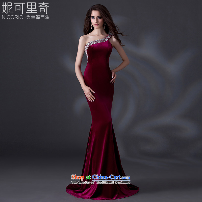 Wedding dress 2015 new winter shoulder dress western style wine red moderator evening dress bride bows services performed female long wedding dress red聽fabric luxury imports PUERTORRICANS lace_