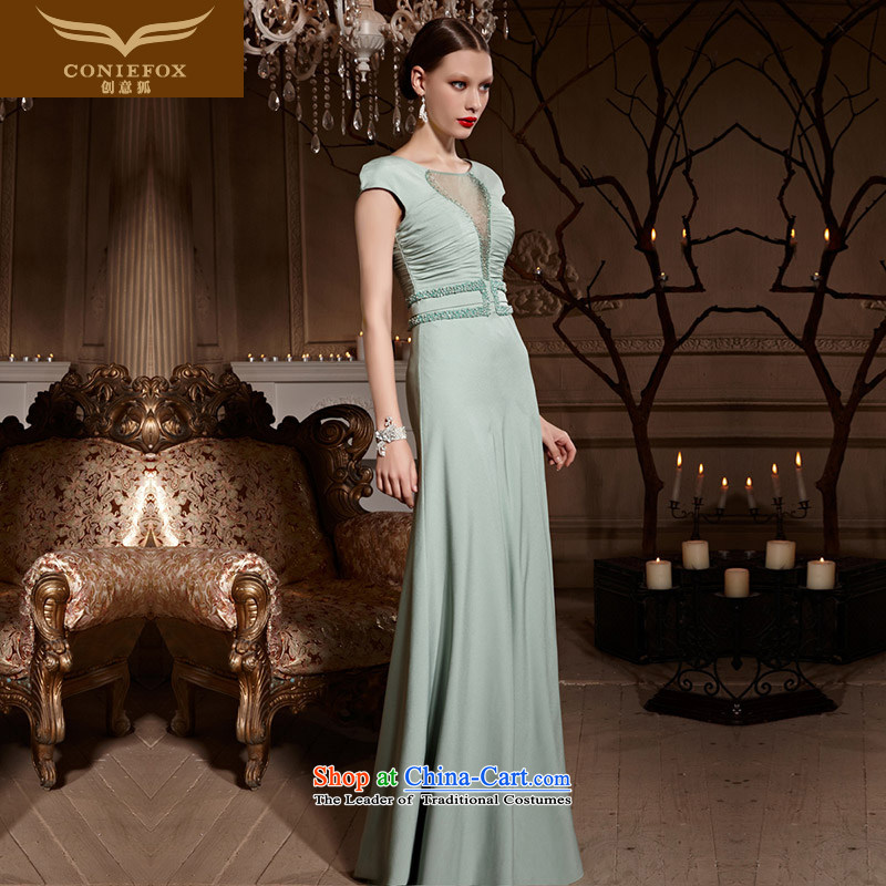 Creative Fox evening dress green package shoulder length, banquet evening dresses marriage services Foutune of auspices bows dress noble will long skirt 82006 green�XL