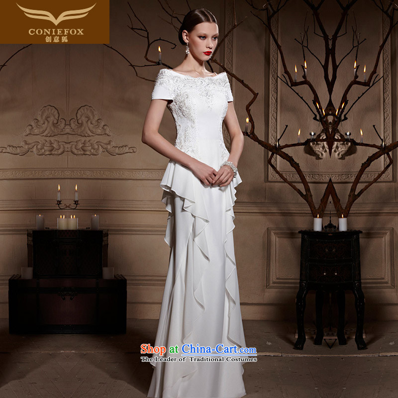Creative Fox evening dress white wedding dresses skirts bride first field shoulder long dresses Sau San toasting champagne evening dress skirt hospitality services hosted services?82009?white?S