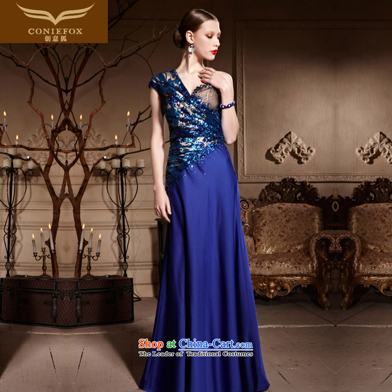 Creative Fox evening dress single shoulder length) bows dress sit back and relax   blue chip banquet hosted evening dresses red carpet dress long skirt 82026 blue�L