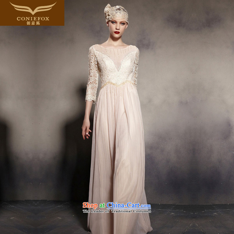 The kitsune dress creative new lace retro evening dress shoulders to dress annual chairmanship of dress Sau San long-sleeved dress 7 81960 picture is?L