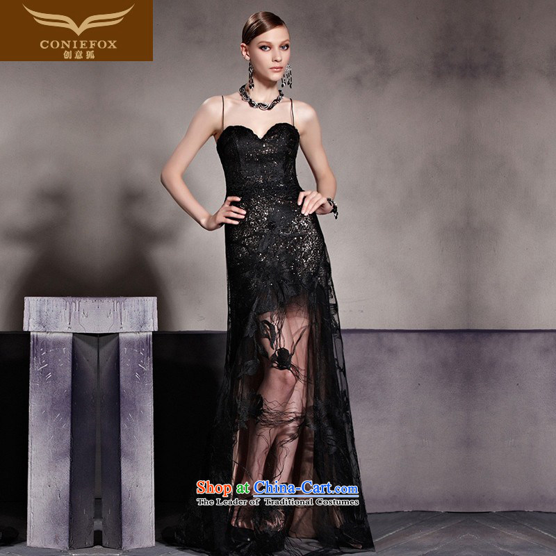 Creative Fox evening dress black strap and sexy dress wiping the chest to dress evening reception party bows services Foutune of video Thin mesh long skirt 81959 color picture XXL