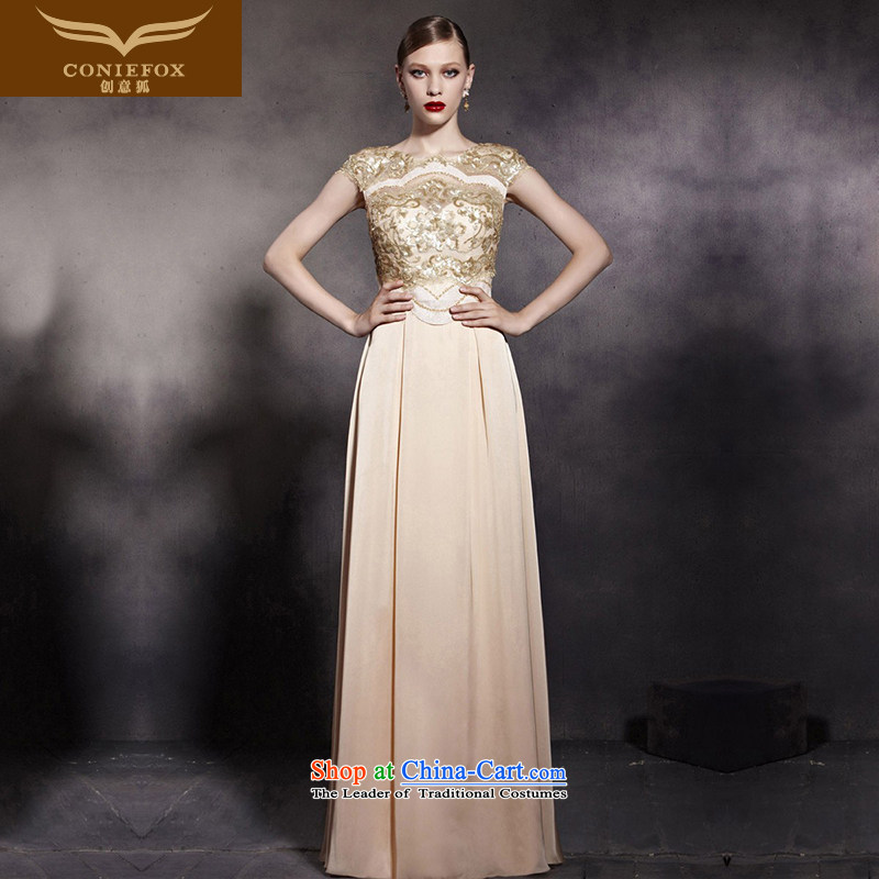 Creative Fox evening dresses gold on chip banquet dinner dress stylish and elegant and noble long gown auspices dress Foutune of dress long skirt 81953 pictures were?XXL