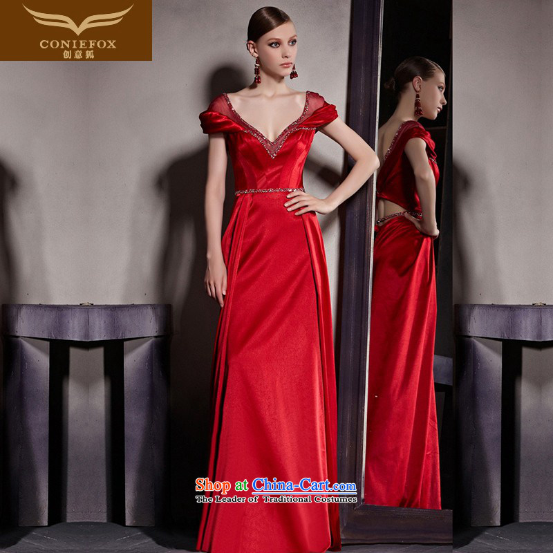The kitsune dress creative new red wedding dress deep V sexy evening dresses bride bows services evening dress packages to shoulder evening dresses 81952 picture color?S