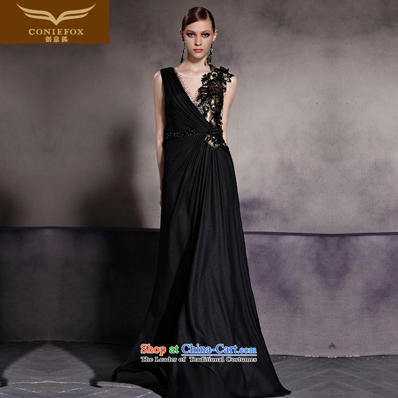 The kitsune dress creative new stylish black dress sense of the banquet to dress auspices performances dress long skirt exhibition red carpet dress 8 color photo�L