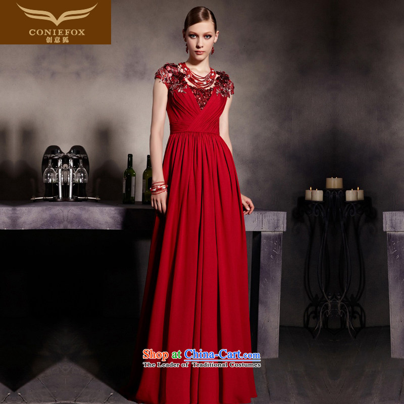 The kitsune dress creative new nobility bows evening dresses red packets shoulder graphics thin dress bride wedding dress hospitality services long skirt 81939 Sau San picture color?M