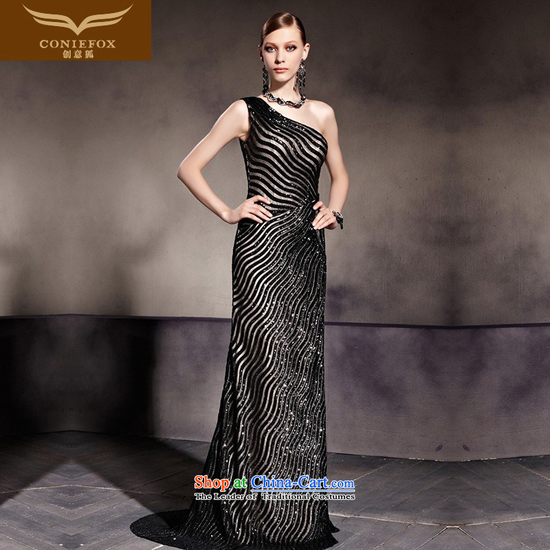 Creative Fox evening dresses and sexy stylish black dress shoulder Sau San dress crowsfoot banquet hosted dress dress red carpet tail dress 81936 picture color�XXL
