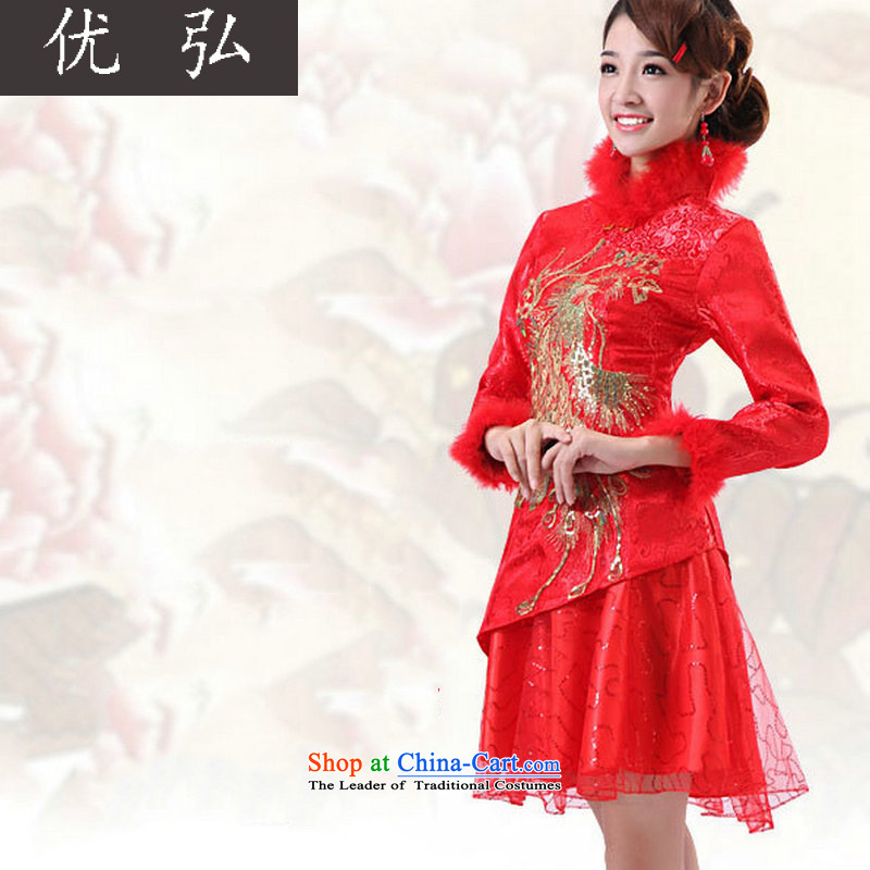 Optimize video autumn and winter, short of cotton qipao bride sets of winter, Wedding Dress bows services QQ4709 long-sleeved red?L