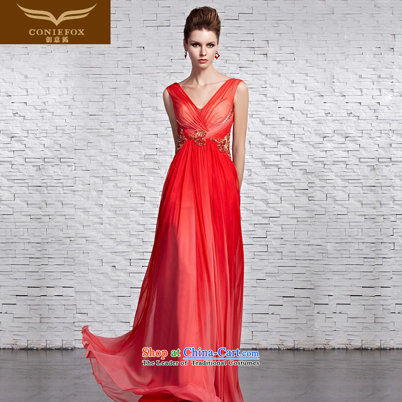 Creative Fox evening dresses red shoulders and sexy V-Neck dress elegant long diamond evening dress married bride video thin bows dress 81569 picture color?XXL