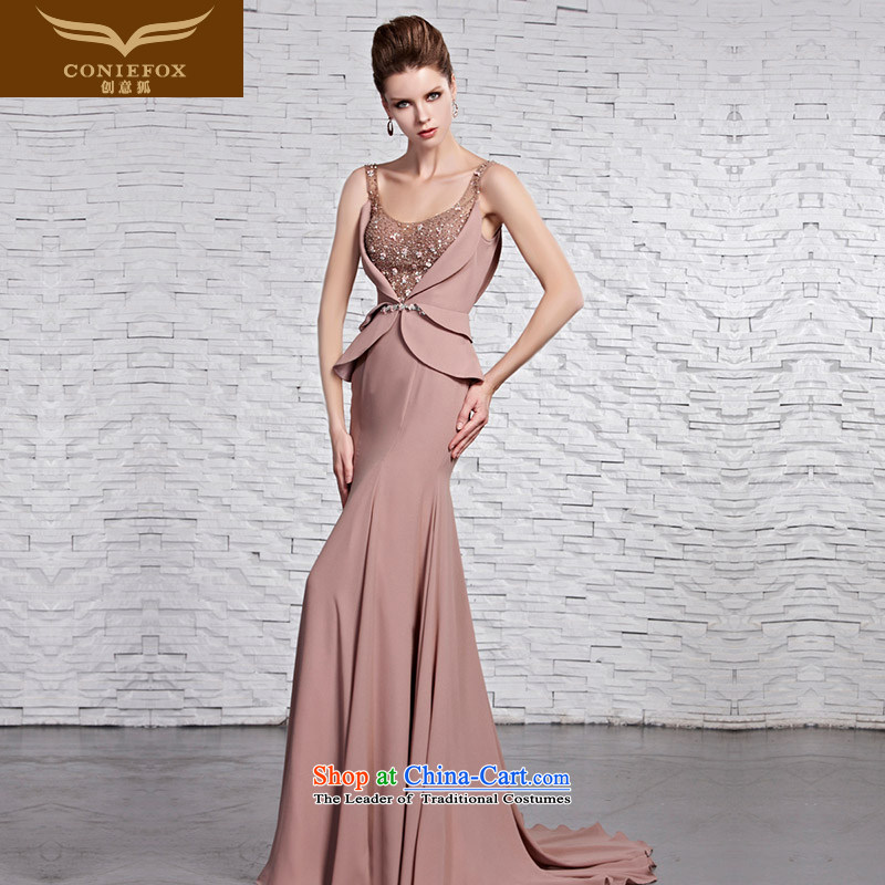 Creative Fox evening dress stylish U-shaped billowy flounces dress skirts and sexy shoulders banquet evening dress elegant long gown tails under the auspices of long skirt 81595 picture color?XL