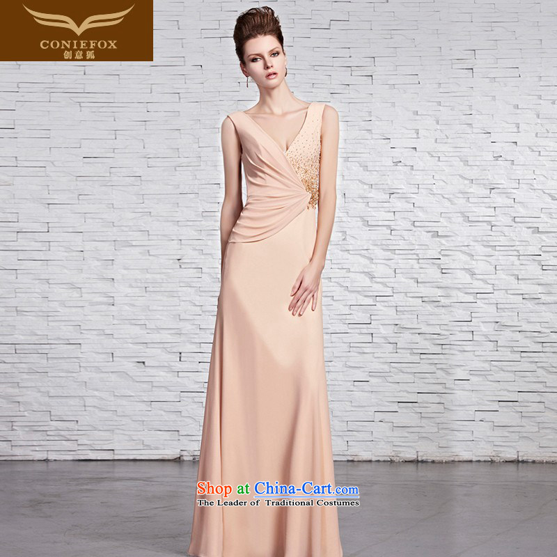 Creative Fox evening dresses and sexy deep V banquet evening dresses and wrinkle Foutune of dress shoulders video under the auspices of the thin dress bridesmaid dress evening dress 81596 color picture?S