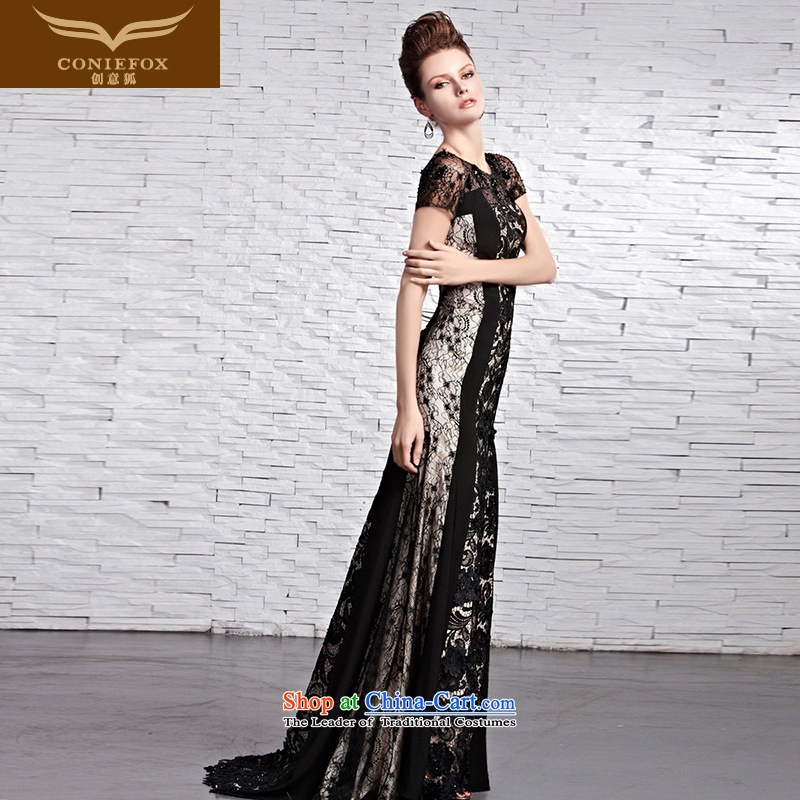 The kitsune evening dresses elegant creative round-neck collar package shoulder evening dresses black lace red carpet tail dress annual Banquet Exhibition under the auspices of Dress Suit 81612 XXL