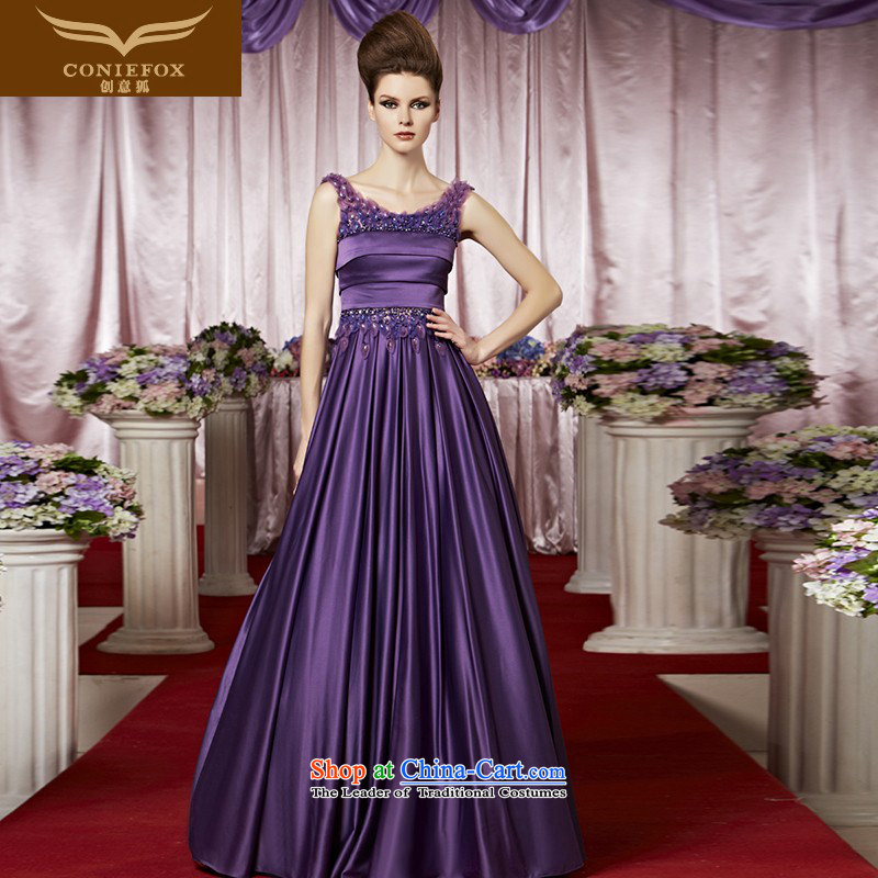Creative Fox evening dresses dream purple bridesmaid dress elegant long shoulders banquet hosted evening dresses dress will foutune bon bon skirt 30028 color picture?S