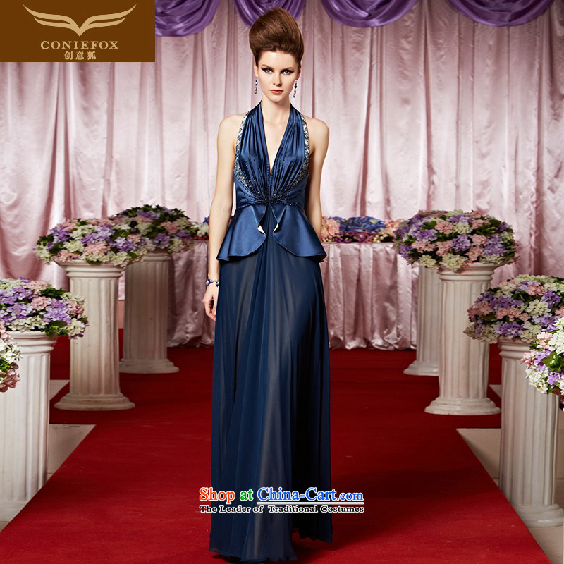 Creative Fox evening dress and stylish evening dresses hang sexy dress must also deep blue dress auspices dresses V will evening drink service 30069 color picture?S