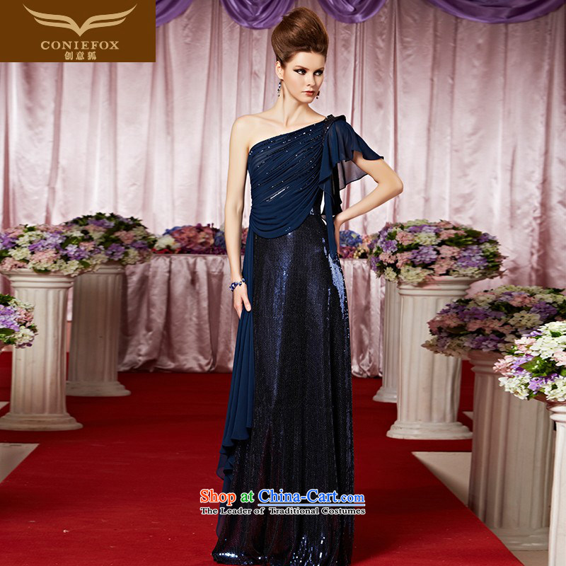 Creative Fox evening dress stylish shoulder banquet evening dresses and elegant and noble light skirt dress Sau San based performance under the auspices of dress?30215?picture color?L