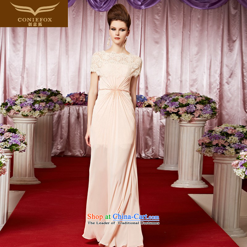 Creative Fox evening dress pink lace package shoulder bride evening dress marriage bows services welcome service elegant sweet long skirt 30262 picture color XL
