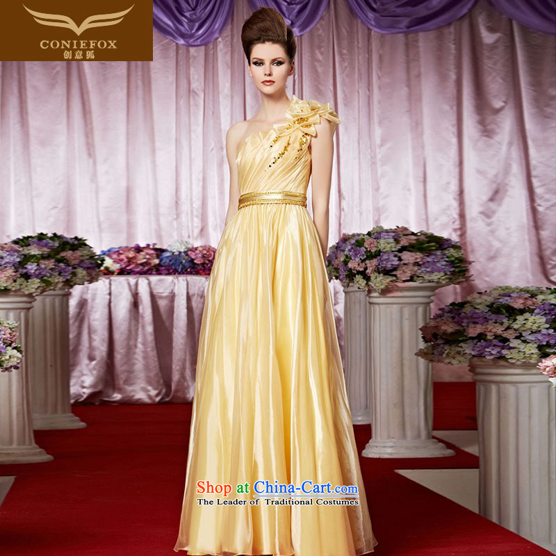 Creative Fox evening dress stylish evening banquet gold flowers evening dresses shoulder stylish Foutune of dress skirt presided over 30266 dress pictures show color?XXL