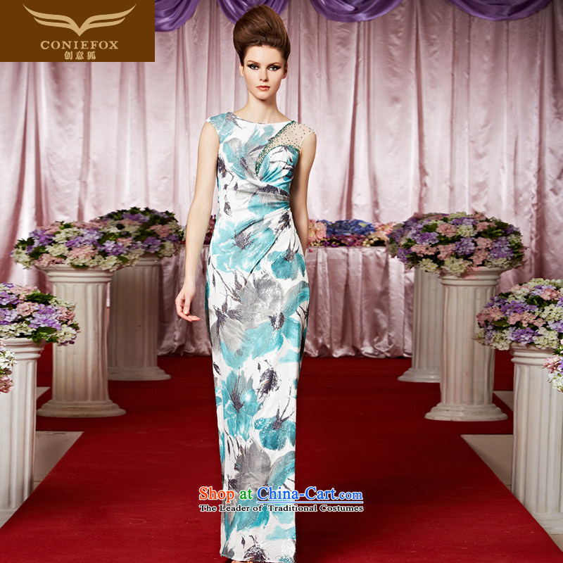 The kitsune dress creative new banquet evening dresses hand-painted flowers to dress Sau San sheikhs wind dress long skirt performances dress skirt 30298 presided over the picture color�XXL