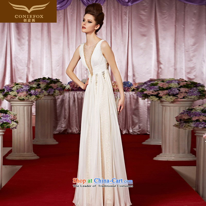 The kitsune elegant evening dress creative white shoulders Top Loin of Sau San dress deep V sexy evening dresses exhibition under the auspices of dress dress red carpet dress 30308 color picture S