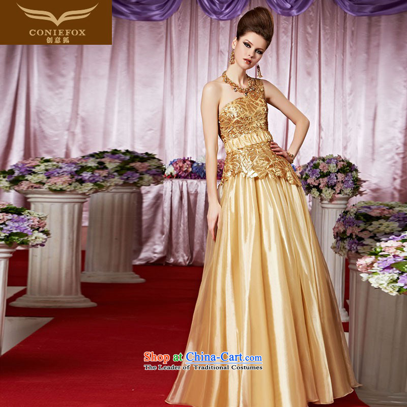 Creative Fox evening dresses sleek gold on chip evening dresses shoulder to dress bon bon skirt exhibition under the auspices of dress red carpet dress 30318 color picture?M