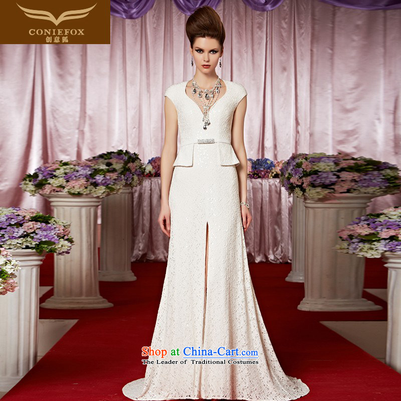 The kitsune dress creative new white banquet evening dresses sit back and relax the smearing bride dress skirt performances under the auspices of evening dresses red carpet dress 30319 color picture?S
