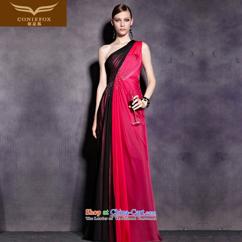 Creative Fox evening dress single shoulder length, banquet evening dresses Beveled Shoulder evening drink service gathering hosted a reception at the annual meeting of the evening dresses dress 81930 will picture color�L
