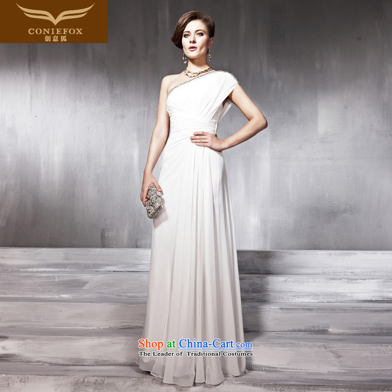 Creative Fox evening dresses white Beveled Shoulder bride wedding dress banquet evening dresses red carpet evening dress bows services under the auspices of dress long skirt聽56861聽White聽XXL