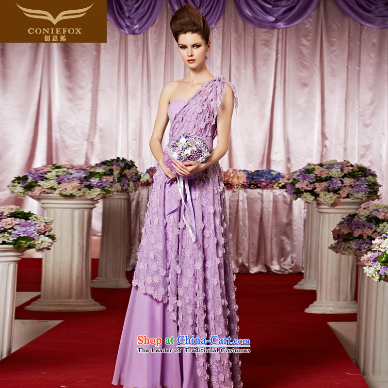 The kitsune elegant evening dress creative Long Purple shoulder bride bridesmaid dress marriage evening dresses performances conducted dress long skirt to 30323 color pictures of flowers?M