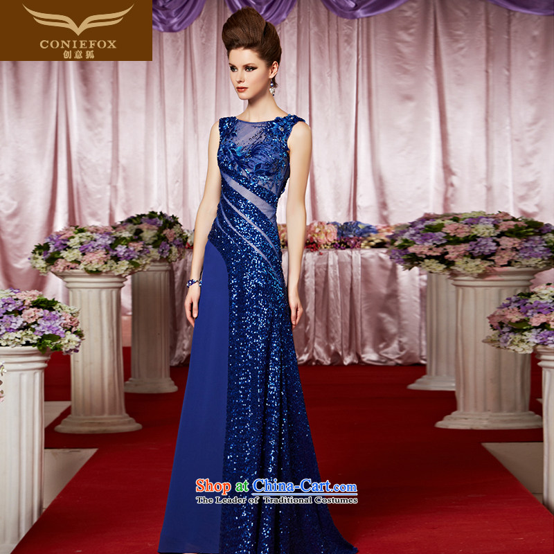 Creative Fox evening dress blue chip banquet evening dresses new bridesmaid dress wedding dress bridal dresses evening drink female presiding over 30331 color pictures dress - M pre-sale