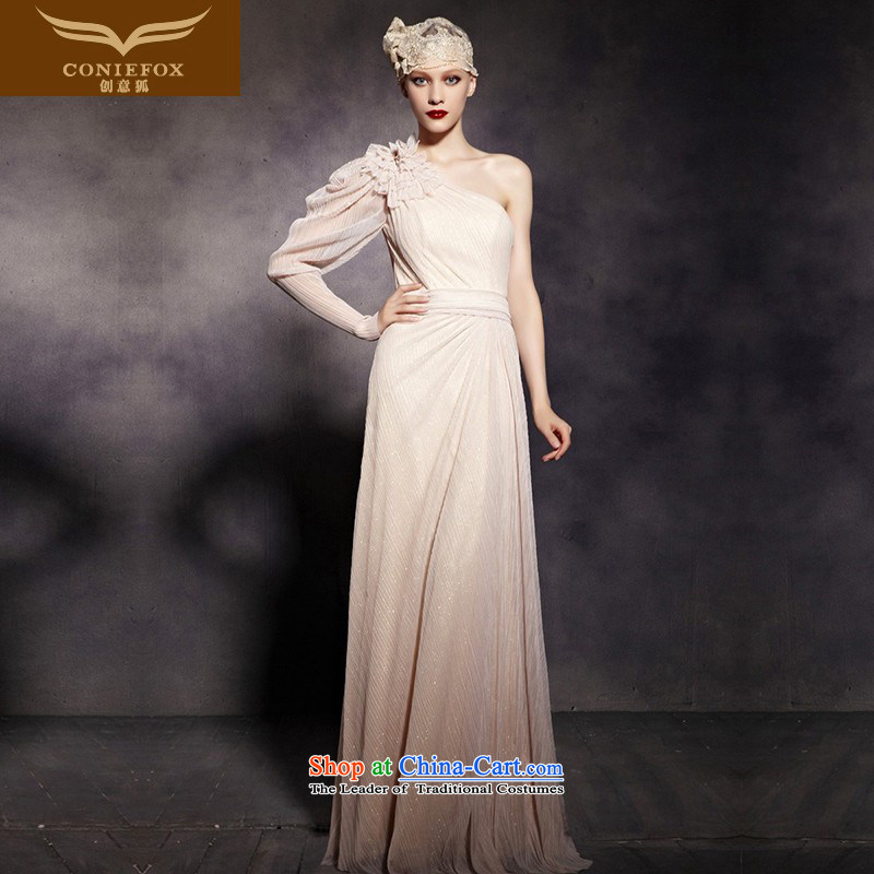 The kitsune elegant evening dress creative aristocratic evening dresses shoulder and a long-sleeved gown bows service banquet hosted dress wedding dress hospitality services 81920 picture color聽XXL