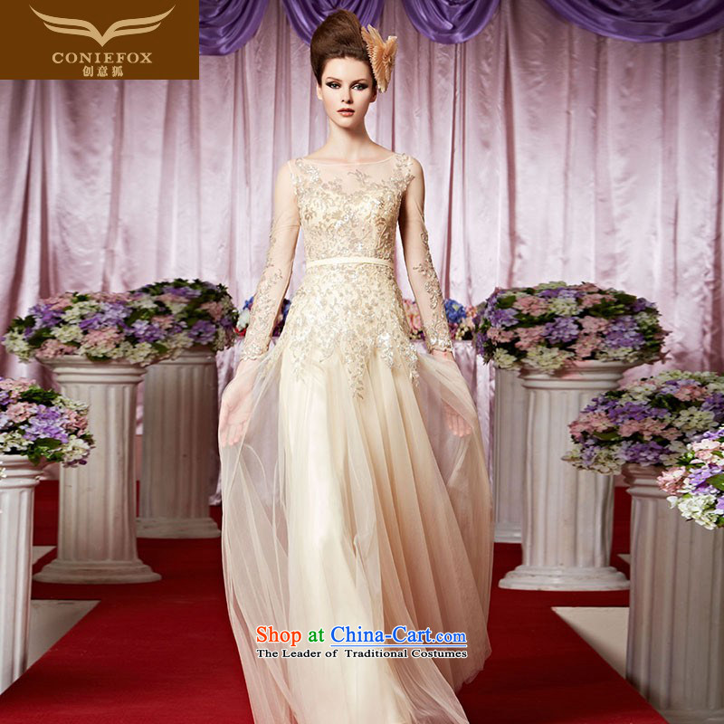 The kitsune elegant evening dress creative long banquet evening dresses long-sleeved evening drink service events including dress bride wedding dress hospitality services 30339 picture color聽XL