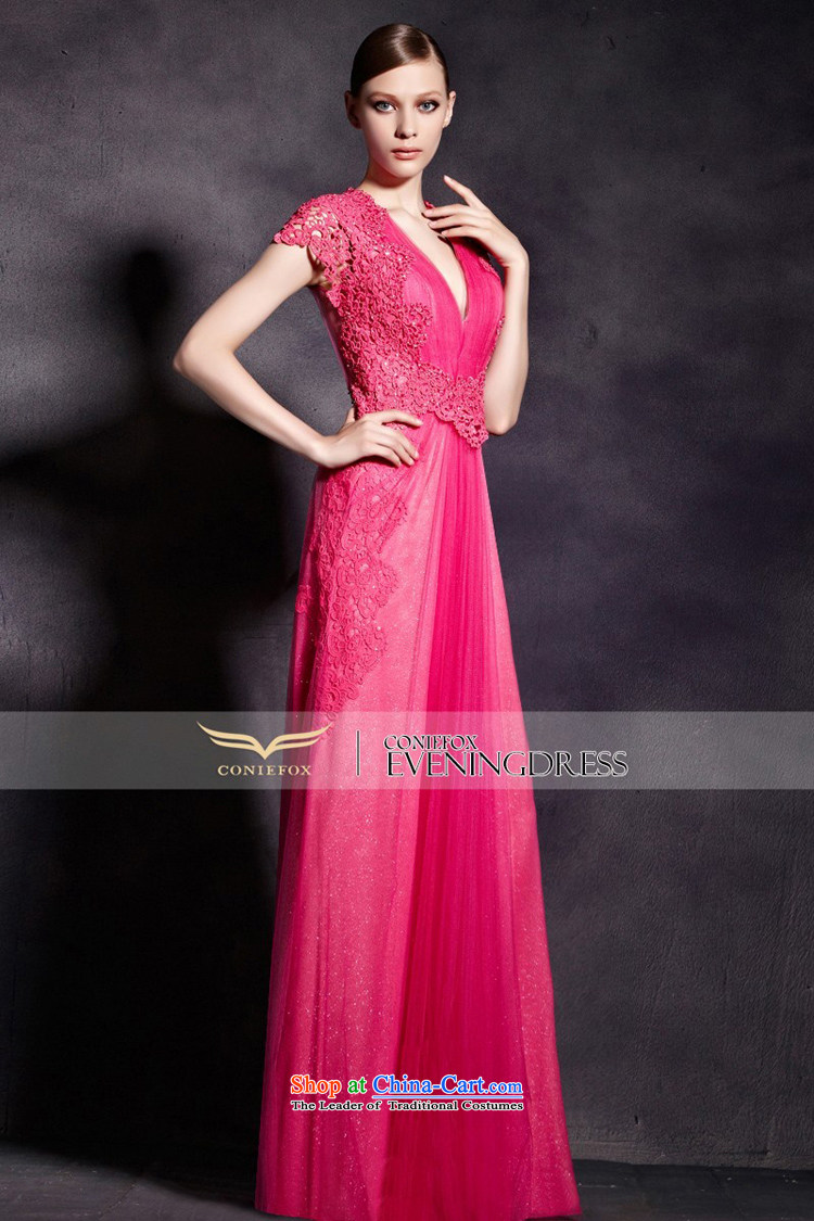 The kitsune evening dress in creative Red bride bows dress deep V ...