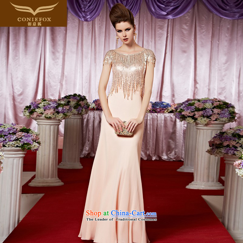 Creative Fox evening dresses pink on chip banquet evening dresses sweet to bride wedding dress marriage welcome service under the auspices of dress long skirt 30360 color picture M