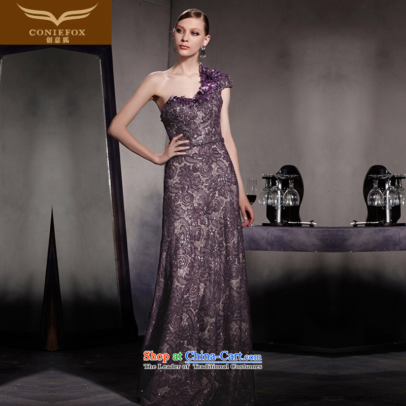 Creative Fox evening dresses dream purple shoulder dresses and elegant dress bridesmaid dress stylish light slice will preside over�81909 dress�photo color�XXL