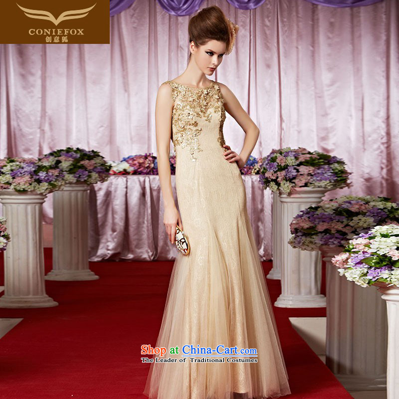 Creative Fox evening dresses gold noble banquet dinner jackets to show the annual dress shoulders on the chairmanship of dress is welcome to serve long skirt OF RECOMMENDATIONS30380 picture color S